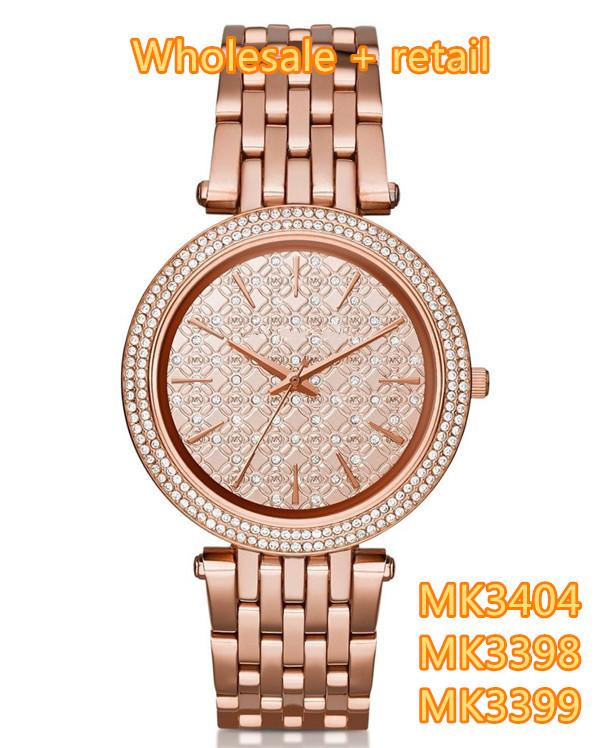 Здесь можно купить  Crystal dial women MK3404 MK3398 MK3399 + original box, wholesale and retail + free shipping Crystal dial women MK3404 MK3398 MK3399 + original box, wholesale and retail + free shipping Ювелирные изделия и часы