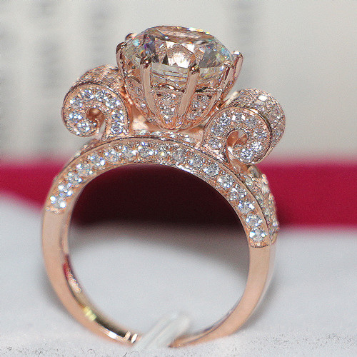 Rose Love Brilliant Forever 3Ct Round Cut Synthetic Diamond Proposal Ring for Lover Solid 14K 585 Rose Gold Wedding Jewelry(China (Mainland))