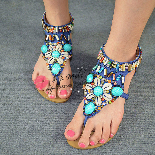 Free shipping,National trend bohemia shell rhinestone colorful beaded sparkling diamond pinch flat sandals 068-8a