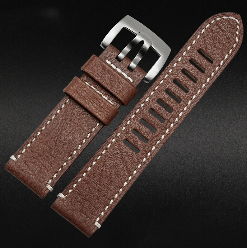 23mm watch band Brown New Men Genuine Leather Watchbands Strap Bracelets Silver Steel Watch Buckle Clasp - Franchised store