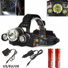 6000 LM Cree XM-L T6 Lampe Frontale Haute Puissance LED Projecteur 4 Mode LED Phare + UE/US Chargeur + 2x18650 batterie Pour La Chasse/Camping(China (Mainland))
