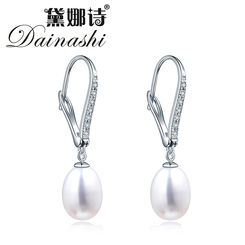 Amazing Price 2016 White, Pink, Purple Color Natural Pearl Hoop Earrings With 925 Silver Box Chain Earring Jewelry For Mother(China (Mainland))