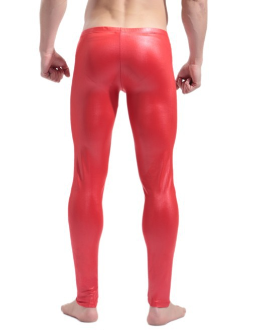 New Men's Shiny Stretch Faux Leather Sport Pants,Sexy &Novelty Skinny Muscle Tights Mens Leggings,Low Waist,Two Colors.(China (Mainland))