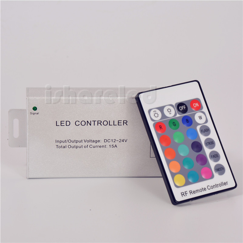 New 12V-24V 15A 24 Key RF Aluminum RGB LED Controller For LED Strip module Lamp(China (Mainland))