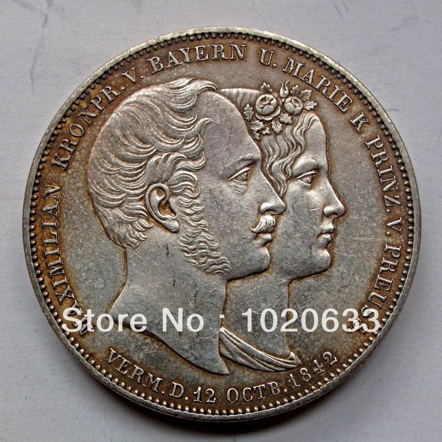 REAL SILVER>> Germany BAYERN LUDWIG I 1842 Silver Coin ...