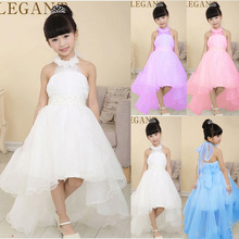 2016 Little Girl Ball Gown with flower white pearl belt baby Girls party wear Dresses with long trailing wedding evening dress