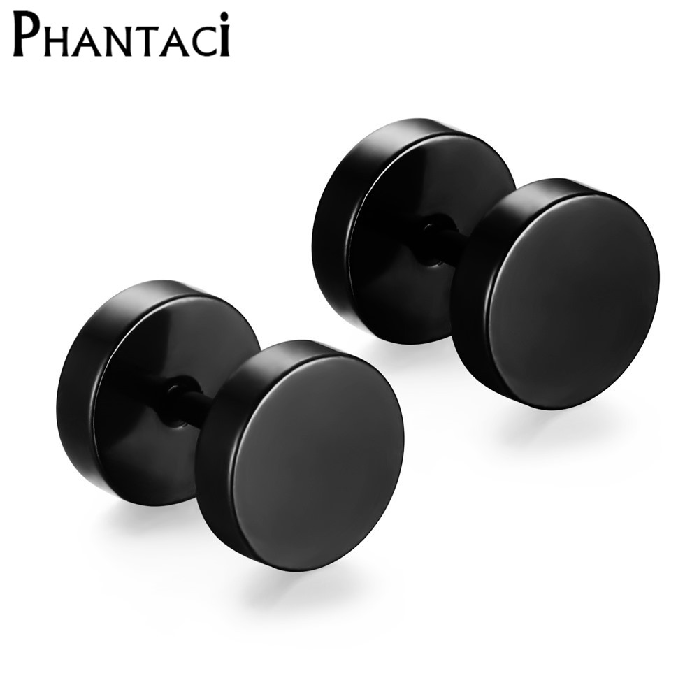316L Stainless Steel Earrings Double Sided Round Bolt Stud Earrings For Men Women Punk Gothic Barbell Black Earrings Female Male(China (Mainland))