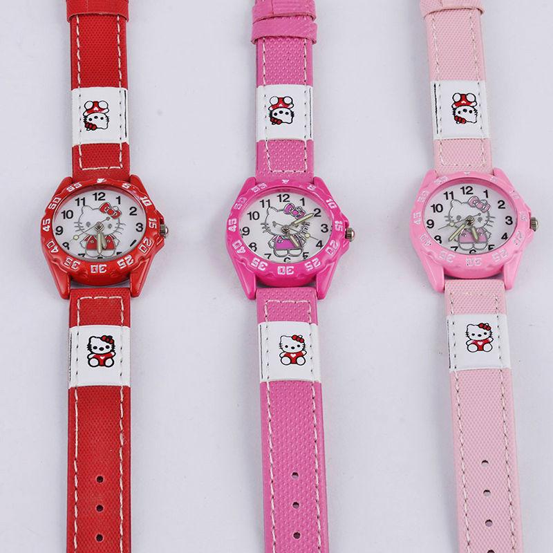 2016 Children hello kitty watch pink&red&rose red leather strap quartz wristwatch hellokitty Clock montre enfant Children watch(China (Mainland))