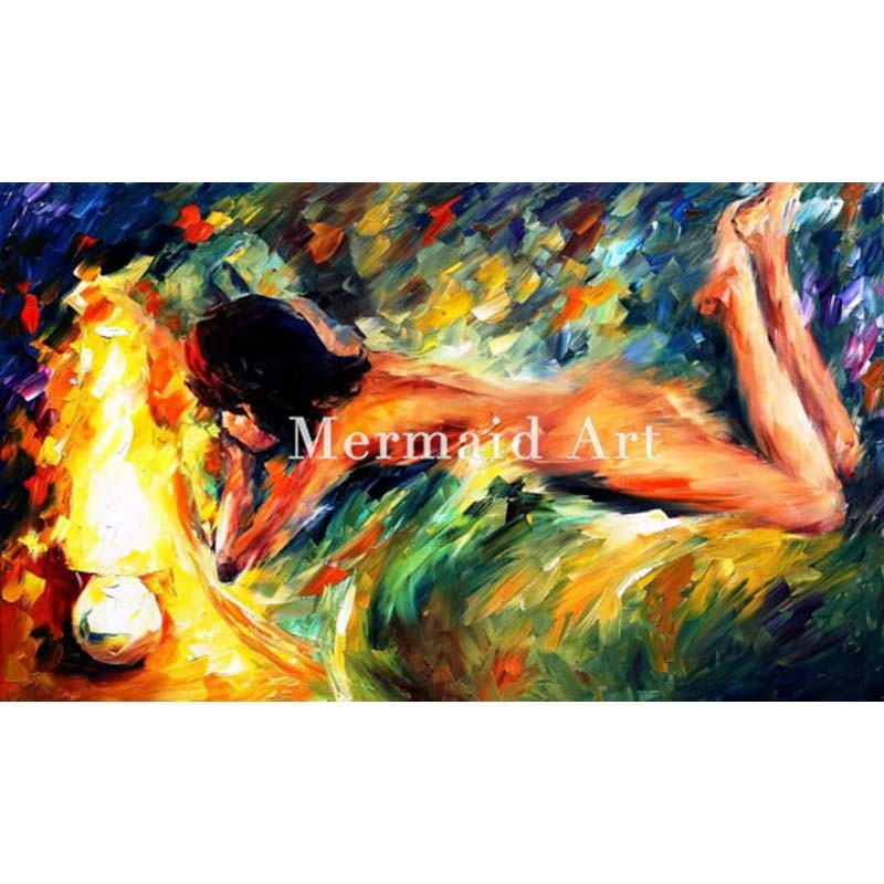 Buy Hand Painted Landscape High Quality Abstract Palette Knife Naked Figure Modest Girl Oil Painting Canvas Decoration Living Room cheap