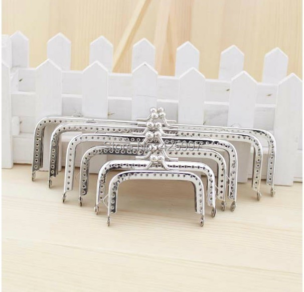 6Pcs 6.5 /8.5 /10 /12 15/ 18CM Silver Coins Purse Frames Metal Kiss Clasp Bags Making Supplies DIY Free shipping! (Half a hole)(China (Mainland))