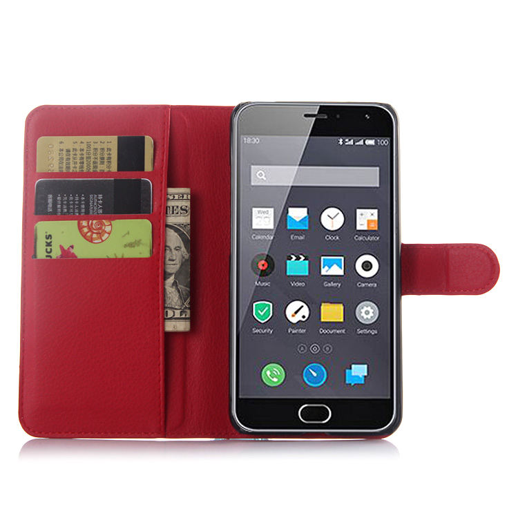 PU Leather Case For Meizu M2 Wallet Flip Cell Phone Cover With Card Slot(China (Mainland))