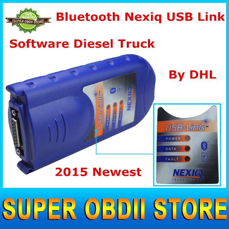 New Arrival NEXIQ 2015 DHL Post Nexiq 125032 USB Link + Software Diesel Truck Diagnose Interface NEXIQ Scanner With Bluetooth(China (Mainland))