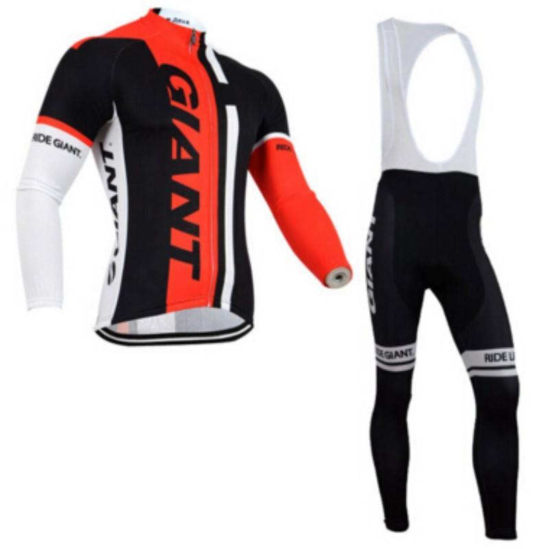 Hot Sale Men's Sportswear GIANT Cycling Clothing Ciclismo Cycling Bike Jersey Long Sleeve Jersey+Racing Bicycle Shirt Gel Pad(China (Mainland))