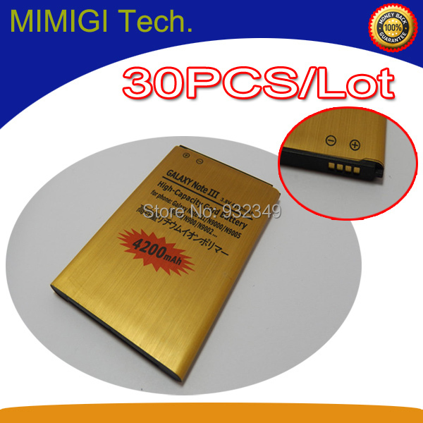 Здесь можно купить  30PCS/Lot 4200mAh Gold Battery For Samsung Galaxy Note 3 GT-N900 N9000 Note3 Batteria Accumulator AKKU PIL ( Free Shipment )  Телефоны и Телекоммуникации