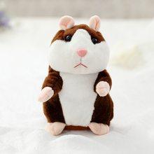 Promoção 15 cm Adorável Falar Hamster Repita Falar Falar Sound Record Hamster Kawaii Stuffed Animal de Pelúcia Brinquedos Para As Crianças Presentes(China)
