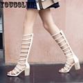 YOUGOLUN Summer Women Gladiator Sandals High Knee Shoes Hollow Zip Open toe Thick Heel 7 5cm