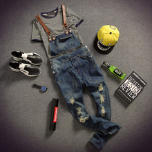 fashion bib denim overalls for men 2015 summer long solid blue slim cowboy overall cotton hole skinny overalls men's jeans nzk20(China (Mainland))