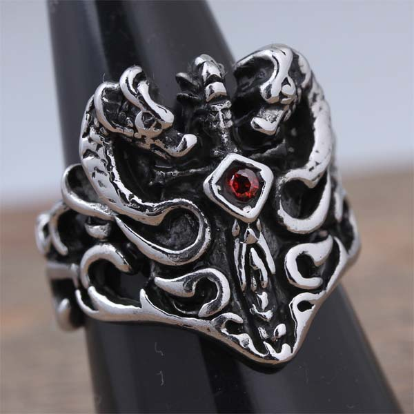 New Arrival Stainless Steel Fashion Mens Dragon Ring Red Crystal Popular Jewelry Factory Price New 2015 US Size 8 9 10 (A538)(China (Mainland))