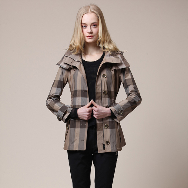 Women's AuTUMN Winter Waterproof Fabric Slim Fashion Outerwear Plaid Coat Female Plus Size Hooded Long Trench - Boutique cottages store