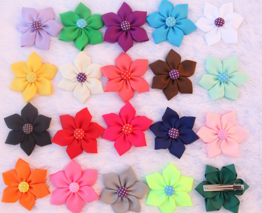 100pcs 20color Children Hair Accessories Grosgrain Ribbon Bowknot Barrettes Baby Flower petals With Clips Boutique Hairpins<br><br>Aliexpress