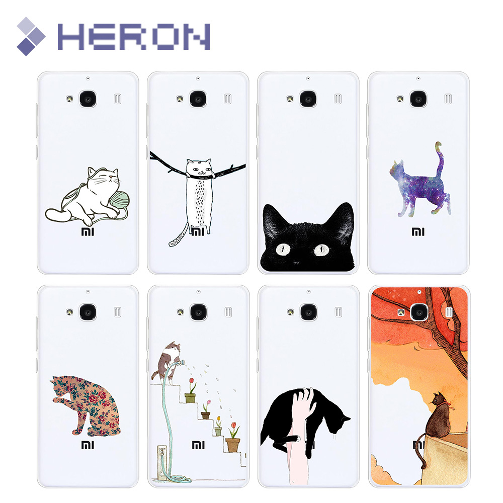 Soft TPU Case xiaomi Redmi 2 3 4A Transparent Cat Paint Pattern Super Thin Back Cover note2 note4 pro
