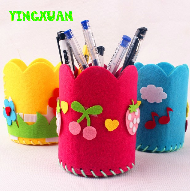 5pcs/lot DIY Handmade Felt Fabric Craft Kits Toys Pen Container for Kids(China (Mainland))