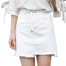 Buy Belted Raw-Cut Denim Mini Skirt Women 2017 New Casual High Waist Asymmetric A-Line Jeans Skirts Women Summer Skirts Saia for $10.99 in AliExpress store