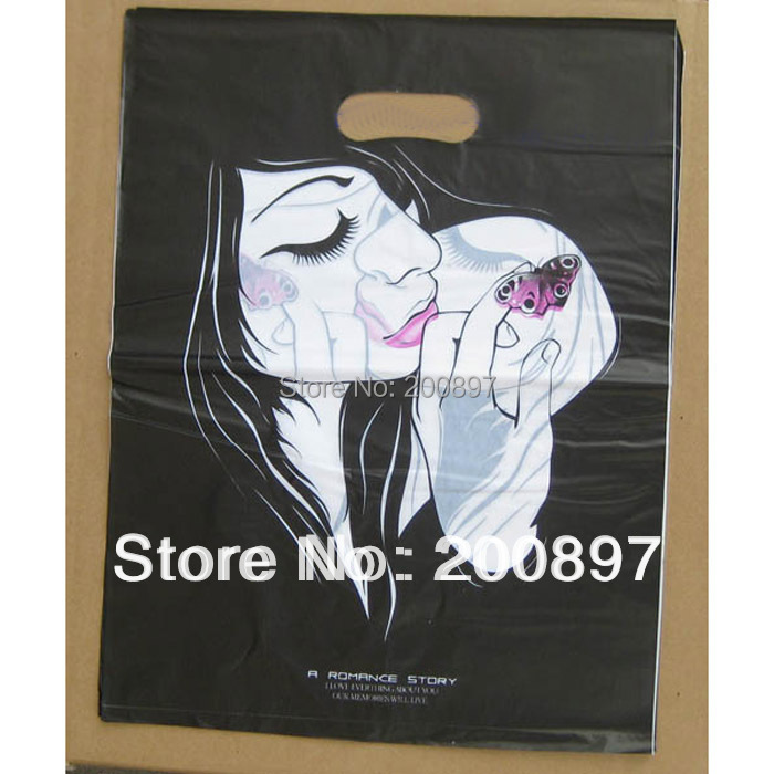 Promotional cute shopping plastic bag with handle 30*40cm package poly bag for clothings candy Love 100pieces lot(China (Mainland))