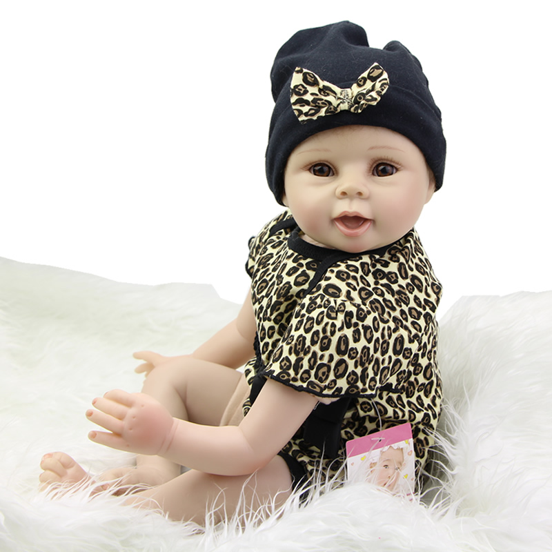 Lifelike Reborn Silicone Baby Doll Girl Alive Doll Stuffed Body 22 inch Newborn Babies Wearing Leopard Clothes(China (Mainland))