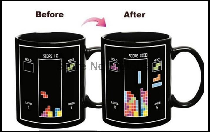 Free shipping 48pcs/lot Tetris Color Changing Mug Cup Temperature Changing Wholesale(China (Mainland))