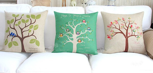 18 square pastoral life trees cotton linen cushion cover ikea sofa decorative throw pillow home. Black Bedroom Furniture Sets. Home Design Ideas