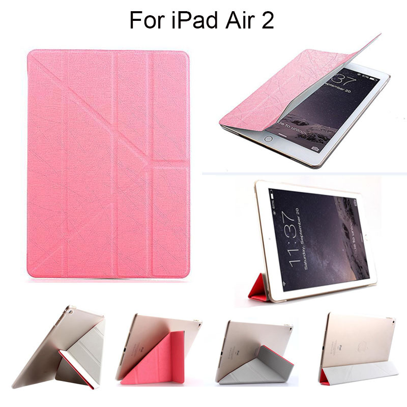 Smart Case For Apple iPad Air 2 Transformer Fold Flip Cover For Ipad 6 Transparent Matte Back Cover Sleep Wake Up Free Stylus(China (Mainland))