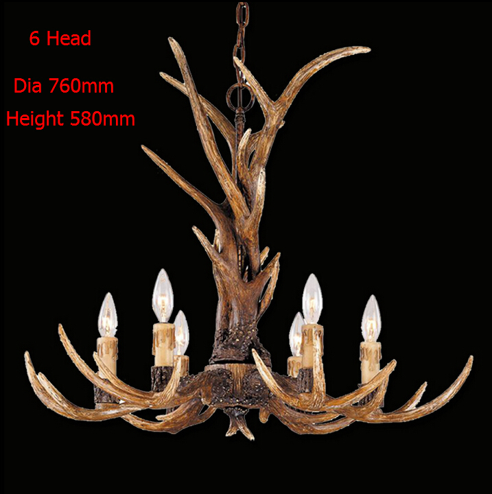 Europe Country 6 Head Candle Chandelier American Retro Lamps Fixture Resin Deer Horn Antler Lampshade Decoration E14 110-240V(China (Mainland))
