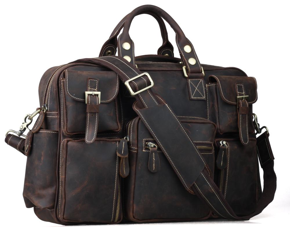 TIDING Large capacity handbag vintage style briefcase for men genuine leather 16' laptop bag 30624 US(China (Mainland))
