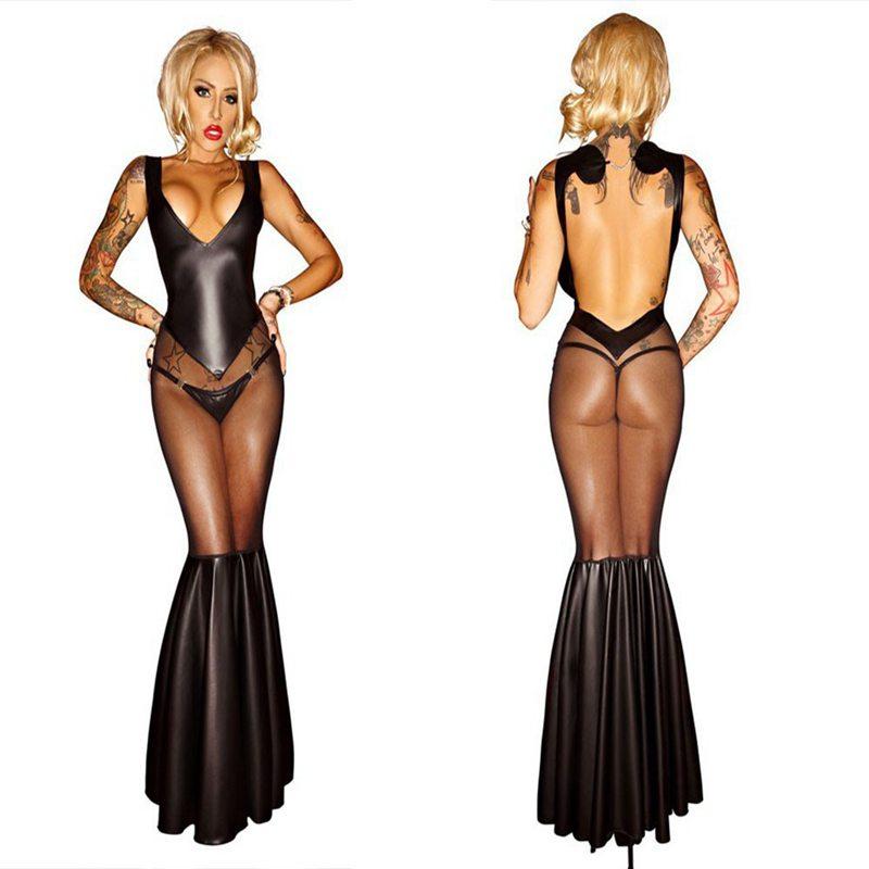 Wet Look PVC Erotic Leotard Costumes Long Dress Bodycon Clubwear Party Dance Dress Sexy Latex Black Bodysuit Catsuit(China (Mainland))