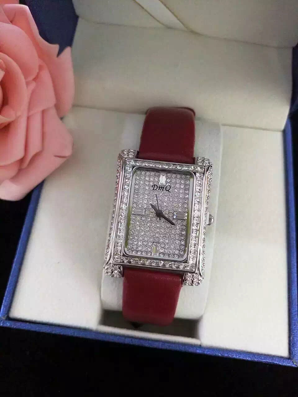 DMQ2016 new fashion leather fashion watches with rectangular artificial diamond