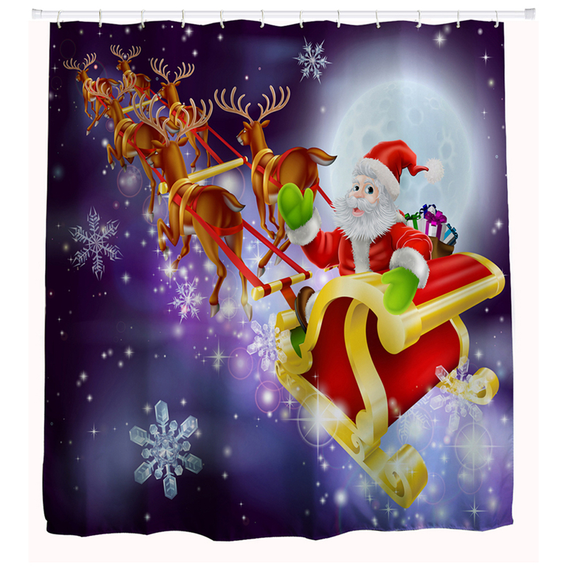 New 1pcs Modern Style Christmas Waterproof Shower Curtain Fireplace GiftBox  Snowman FlyingSled ColorBall Printed For Bathroom