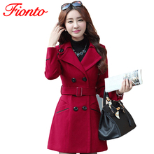 FIONTO Winter Coat Women Wool Trench Coat 2017 Double-Breasted Plus Size Autumn Winter Clothes Women Thin Woolen Jacket A159(China (Mainland))