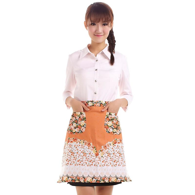 Women Restaurant Home Kitchen apron Flower Printed Pocket Lace Cooking Cotton Aprons For woman Tablier Enfant Apron Kitchen(China (Mainland))