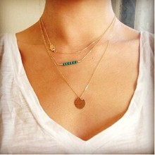 2015 Fine Jewelry Gold Plated Necklaces Charms Fatima Hand 3 layer Pendants Necklaces For Women Smart