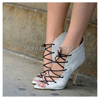 Arrylinfashion 2015 Booties Ankle Strappy Desinger Shoes open toe Women Pumps lace up cuts out soft leather High Heels Sandals(China (Mainland))