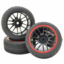 4x Black RC 1:10 Off-Road Remote Control Buggy 2x Front 2x Rear Rubber Tires & Wheel Rim(China (Mainland))
