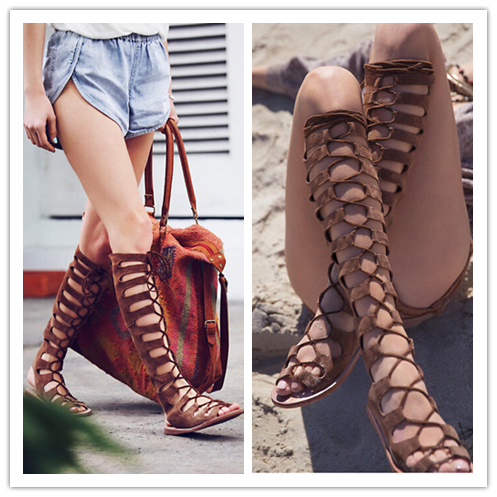 2015  Knee High Gladiator Summer Sandals Women Motorcycle Boots Genuine Leather Women Flats Lace Up Dress Shoes Woman Zapatos <br><br>Aliexpress