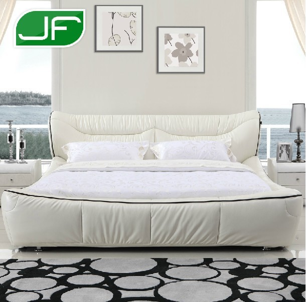 Genuine leather bed real leather bed soft bed