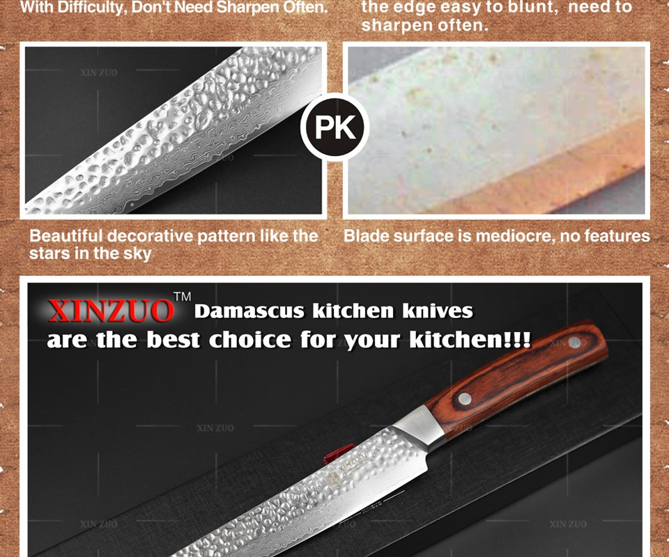 "Buy XINZUO 8 "" cleaver knife 67 layers Japanese Damascus kitchen knife kithcen too senior Sashimi knife wood handle free shipping cheap"