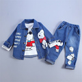3PCS 0 4Years Autumn Children Boys Girls Clothing Set Baby Suit Cartoon Dog Denim Jacket Coat