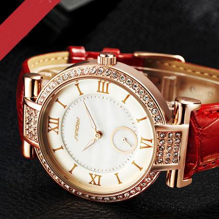 SINOBI NEW Luxury Watch High Quality Genuine Leather Band Watches relogio feminino Watches Stainles Steel Waterproof Wristwatch(China (Mainland))