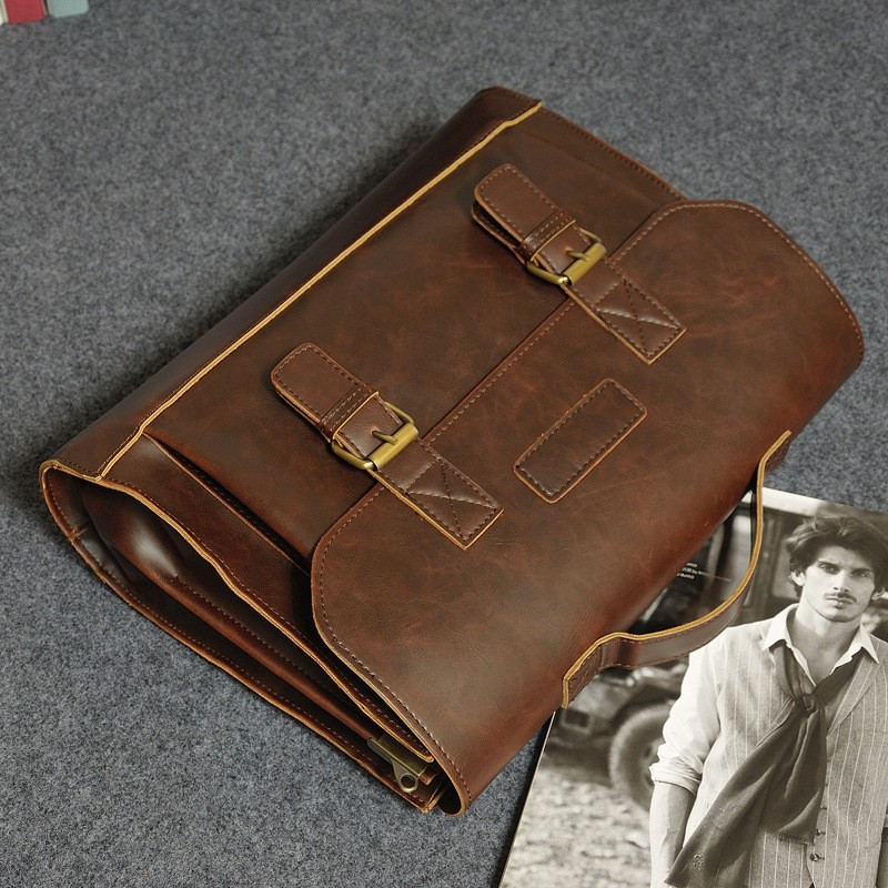 Vintage Men Business Real Genuine Leather Briefcase Travel Causal Shoulder Messenger Portfolio Laptop Bags Lawer Handbag Bolsa (9)