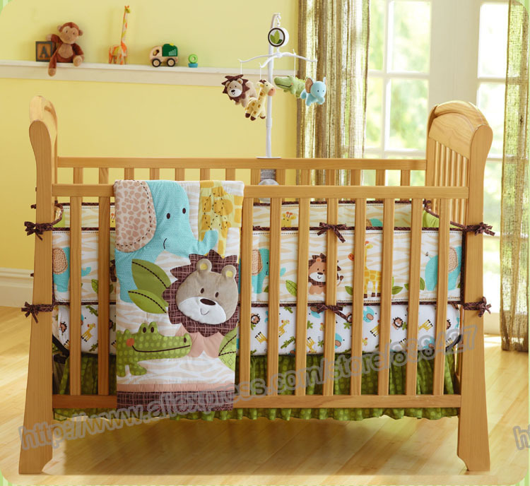 7 pieces Lovely baby bedding crib set forest lion printed ...