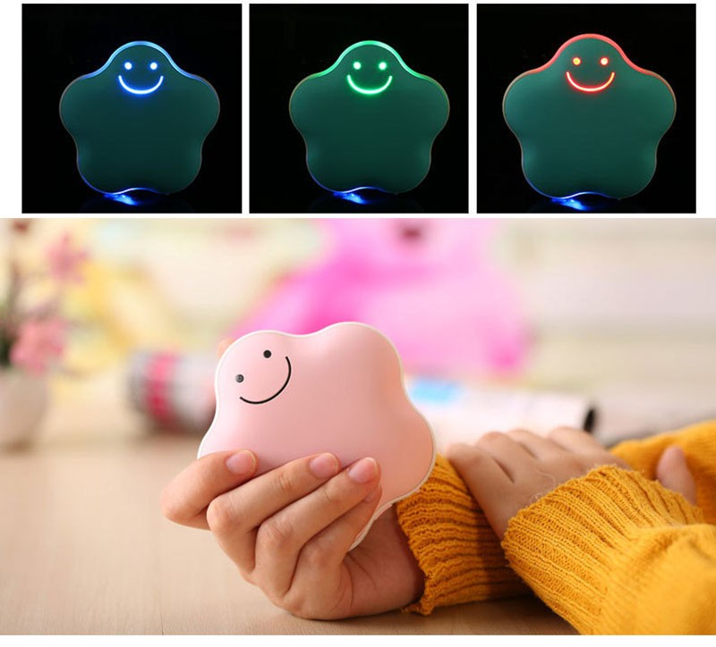 Cute Lucky Star USB Hand Warmer Portable Mini USB Rechargeable 3600mAh Mobile Power Bank External Charger for Cell Phones
